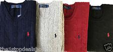 Ralph Lauren Men's Lamb Wool,Cotton Crew Neck Cable Knit Jumpers Sweater RRP £65