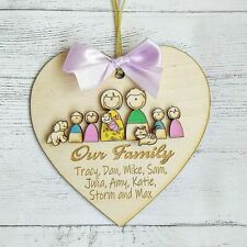 Wooden Personalised Family Picture Heart Gift Frame Tree