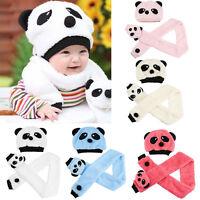 Bonnet + écharpe ourson en coton mélangé pour enfant