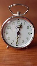 Vintage Art Deco Kienzle Wind Up Alarm Clock White & Silver ~ Spares or Repairs
