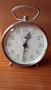 Vintage Art Deco Kienzle Wind Up Alarm Clock White & Silver ~ Spares or Repairs