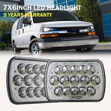 2PCS DOT LED Headlight 7X6'' 5x7 225W For Chevy Express Cargo Van 1500 2500 3500