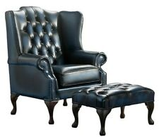 Chesterfield Luxury Mallory Flat Wing Back Chair Antique Blue Leather +Footstool