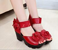 Women Flower Ankle Strap Leather Pumps Peep Toe Platform Wedge Heel Sandal Shoes