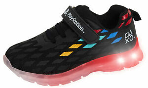 Boys Sony PlayStation Light Up Trainers Kids Gamer Flashing Lights Sports Shoes