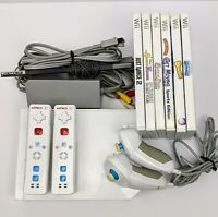 Nintendo Wii Console RVL-001 Bundle Remotes Cords Games Great Condition