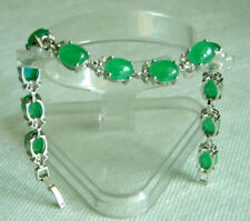 Fashion Emerald Green Jade 18KWGP Crystal Link Clasp Tennis Bangle Bracelet