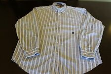 Tommy Hilfiger Blue and White Stripe Long Sleeve Button Up Dress Shirt Men SizeL