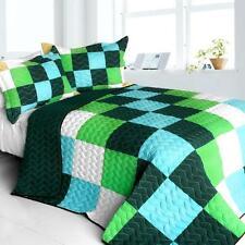 3 Pc Elissa Love Vermicelli blue green teal checks Queen Quilt Shams