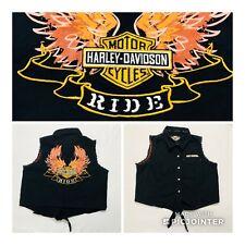 HARLEY DAVIDSON Motorcycles  Black Leather Front Shirt Vest Sz Large L Tie Front
