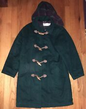 Vtg L.L. Bean Women's Wool Hooded Toggle / Zipper Hooded Duffle Coat Sz 10 USA