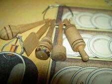 Antique German, dollhouse miniature, utensils set with 5 carved wooden utensils