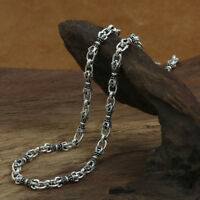 """Genuine Solid Sterling Silver Thai Silver Vajra Chain Men's Necklace 5mm 18""""-32"""""""