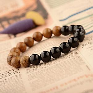 10MM Natural Wood Onyx Agate Bracelets Men Women Healing Balance Lucky Bracelets