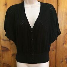 ELLE Button Up Cardigan Black Short Sleeve Ribbed Hem Size Small Career Cotton