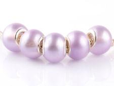 5pcs silver pearl Crystal Violet spacer beads fit Charm European Bracelet #D922