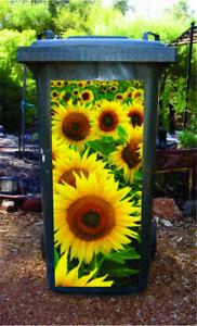 Sunflowers wheelie bin sticker