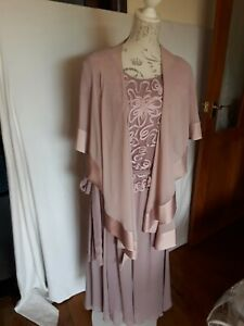 NIGHINGALES BLUSH PINK MOTHER OF BRIDE DRESS AND CAPE AND FASCINATOR SIZE 20