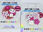 White Cat Pink Bow Phone Grip - Swap Tops to Change Designs TOP ONLY OOAK Marie