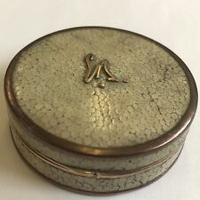 Vintage Solid Silver Rose Gold Gilt & Shagreen Compact By Asprey London 1927