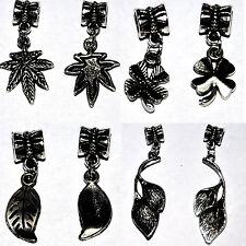 Feder Klee Blatt Hanf Bead Beads für Bettelarmband Sterlingsilber Silber 925 pl
