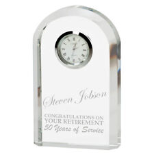 The Eternity Glass Engraved Clock 130mm high FREE Engraving