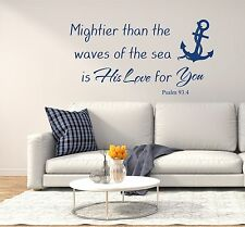 Psalm 93:4 Wall Decals Anchor Vinyl Stickers Mighter than the Waves Bible FD233