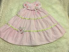 Girls Size 3t Rare Editions Pink & White Seersucker Butterfly Dress