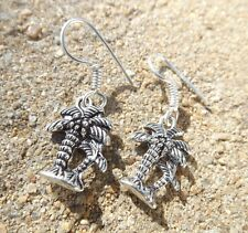 Handmade palm tree design indian silver plated ethnic style earrings