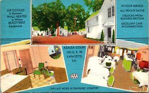 Linen Postcard Azalea Court on U.S. 90 in Lafayette, Louisiana~139599