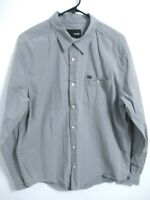 Hurley Mens Size XL Gray Striped Cotton Long Sleeve Pocket Button Up Shirt