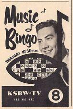 1958 TV AD~JOHNNY GILBERT hosts MUSIC BINGO~KSBW SALINAS CALIFORNIA