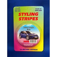 3mm Single Red Stripe Car Decal - Pin Length 10m Castle Promotions Styling