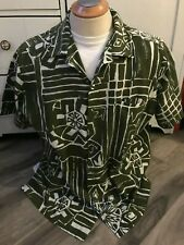 Marjy Stevens Honolulu Hawaiian Kahala Men's Green Abstract Shirt SIze XL