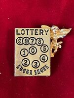 SBE Goldtone Lottery Lucky Angel Lapel Tie Pin 1""