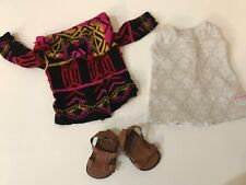 American Girl Sage Sweater Outfit Sweater, white top, sandals