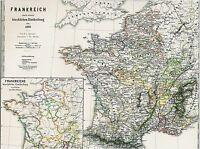 Landkarte FRANKREICH⚜️⚜️⚜️148 Jahre alt ✝️⛪️Kirche Mittelalter 1872