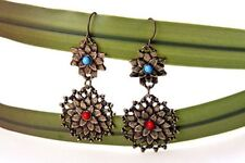 Vintage style bronze crystal flower chandelier earrings