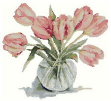 Free S&H 14 counted aida Cross stitch flower tulip  kit HB016
