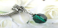 Emerald Faceted Round Charm Bead made with Swarovski Elements European Style