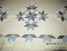 VTG 70X80 40'S BLUE BLACK GREY CALICO STAR IN A STAR? PATTERN HAND MADE QUILT TO