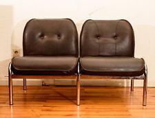 Sessel Designer Girsberger Eurochairs Vintage Kult Original Leder brau Chrom Alu