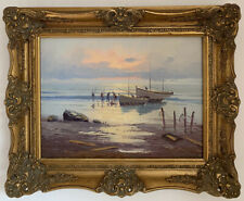 Mid Century Post Impressionist Oil On Canvas Painting In Gold Gilt Frame, Signed