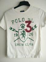 Boys Ralph Lauren white 3 crew club 1926 t shirt small 8 yrs