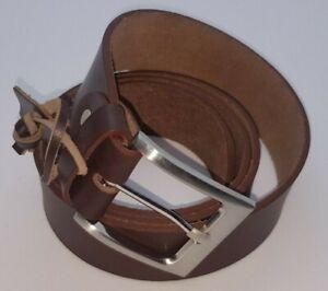 MEN'S GENUINE BUFFALO GRAIN LEATHER SINGLE SIDED BELT - 40 mm, BROWN - BLACK