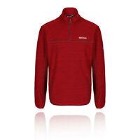 Regatta Mens Unwin Fleece Top Red Sports Outdoors Half Zip Breathable