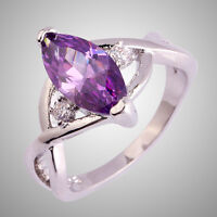 Size L N P R T V Noble Amethyst & White Topaz Gemstone Silver Ring Marquise Cut