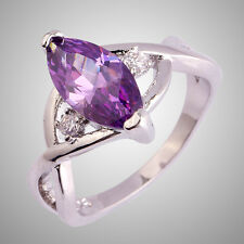 Size L N P R T V Noble Amethyst & White Topaz Gemstone Silver Ring Marquise Cut
