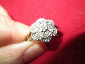 H.Samuel Sterling Silver Pave Set Diamond Cluster Ring Size O/P 0.17 ct.