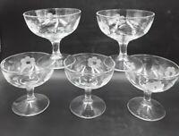 5 Elegant Glass Sherbets Stems Flower Etched Vintage Pattern